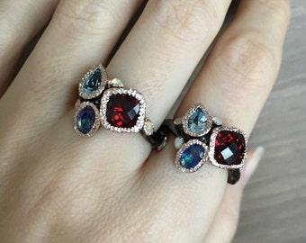Cluster Gemstone Ring- Nature Inspired Ring Ring- Boho Ring - Cluster Ring