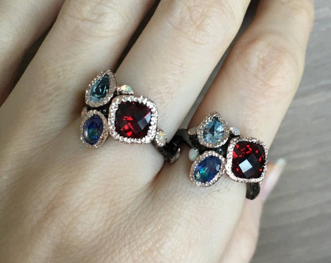 Cluster Gemstone Rustic Statement Ring- Garnet Iolite Mystic Topaz Opal Multistone Ring- Nature Inspired Organic Ring- Solitaire Ring