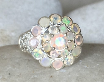 Opal Ring Floral Edwardian Ring Large Opal Engagement Ring Nature Flower Bloom Multistone Cluster Ring