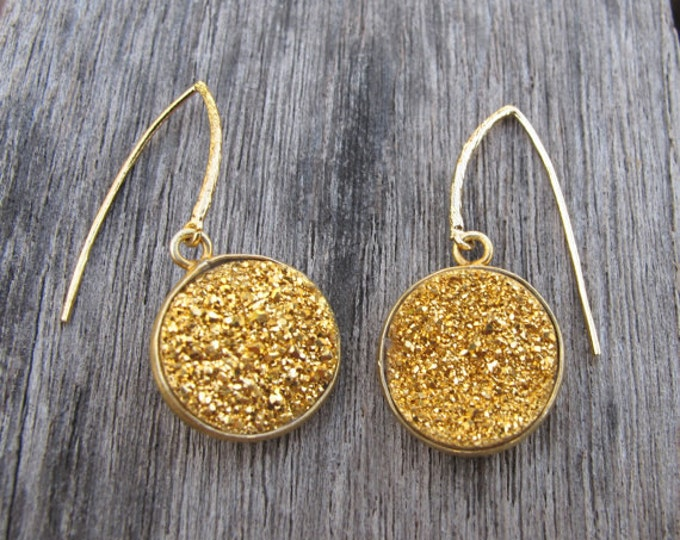 Raw Gold Druzy Galaxy Dangle Earring- Rough Rock Celestial Drop Earring- OOAK Boho Circle Earring- Sparkly Rustic Gold Earring