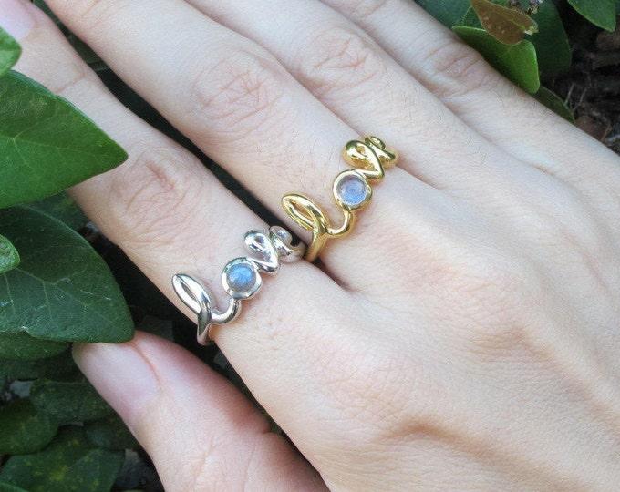 Labradorite Ring Love Ring Boho Ring Statement Ring Word Labradorite Ring Rose Gold Yellow Gold Handmade Silver Labradorite RIng