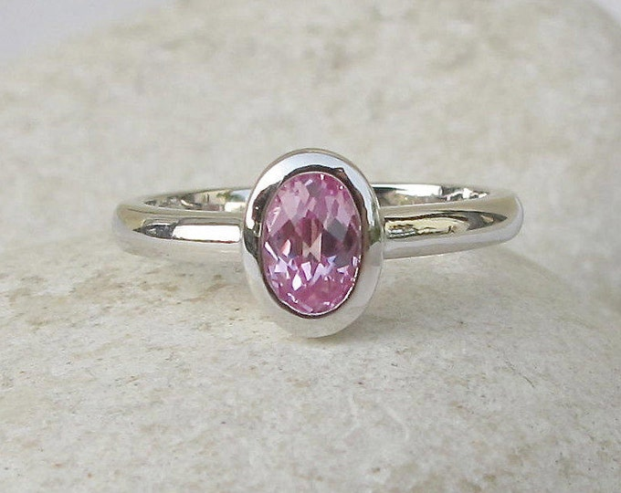 Pink Cubic Zirconia Oval Dainty Ring- Rose Quartz Stackable Ring-Ring for Teen Child-Sterling Silver Pink Stone Ring-October Birthstone Ring