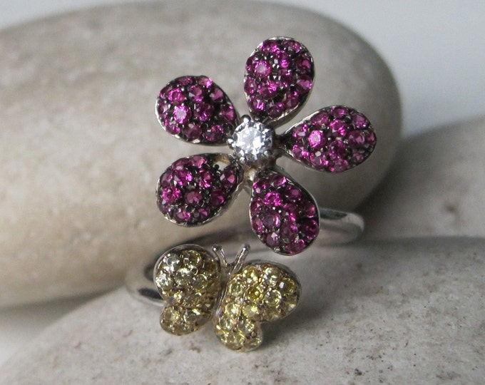 Butterfly with Flower Bypass Open Wrap Adjustable Whimsical Ring