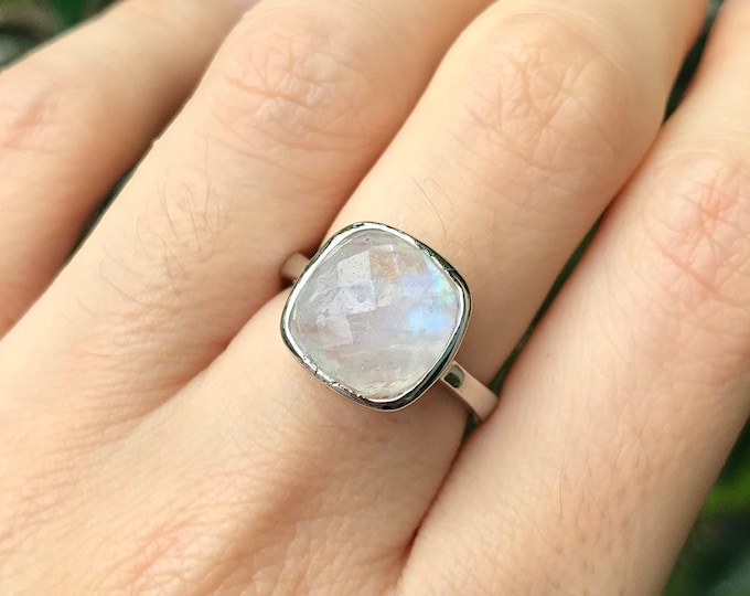 Moonstone Square Facet Stackable Ring- Rainbow Moonstone Sterling Silver Ring- Simple Blue Moonstone Silver Ring- June Birthstone Ring