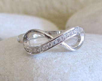 Sterling Silver Infinity Ring- Infinity Promise Ring- Cubic Zirconia Infinity Ring- Classic Infinity Ring- Eternity Eternal BFF Ring