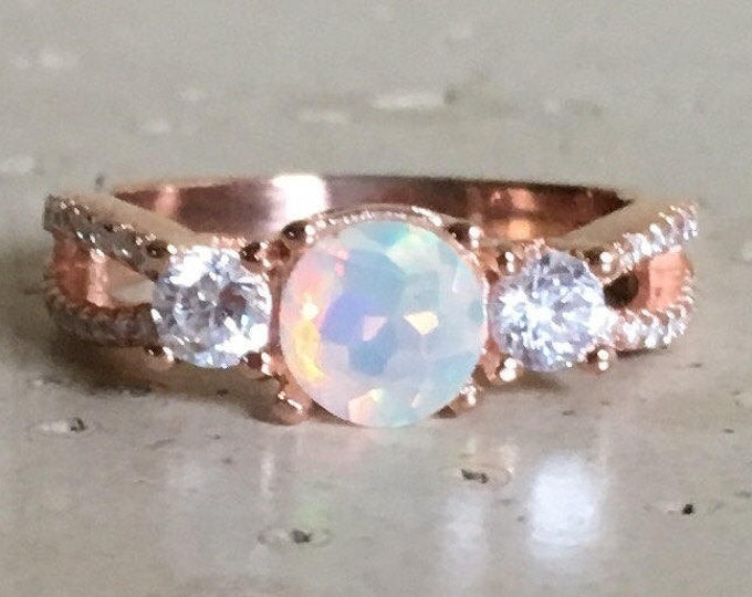 Rose Gold Opal Ring- Opal Engagement Ring- Welo Opal Promise Ring- October Birthstone Ring- Opal Anniversary Ring-Double Band Bohemian Ring