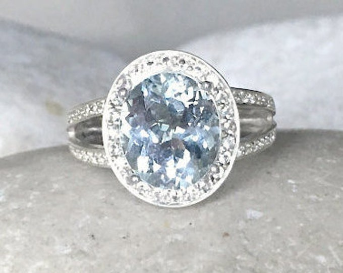 Light Blue Topaz Engagement Ring- Alternative Halo Engagement Ring - Split Band Promise Ring- Something Blue Statement Ring