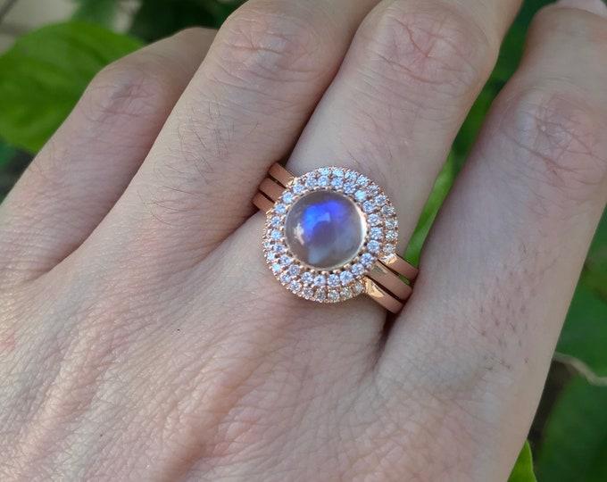 Halo Moonstone Engagement Ring Set- Rose Gold Moonstone Ring- Round Smooth Moonstone Ring- 3 Piece Bridal Ring Set- Diamond Moonstone Rings