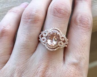 Rose Gold Morganite Ring- Morganite Bridal Ring Set- Art Deco Engagement Ring Set- Vintage Morganite Ring- Three Wedding Ring Set