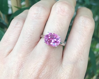 Pink Cubic Zirconia Solitaire Ring