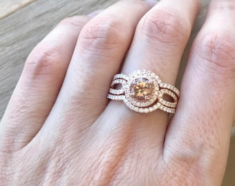 Rose Gold Morganite Ring Set- Morganite Engagement Ring Set- Morganite Diamond Bridal Set- Double Shank Engagement Ring Set
