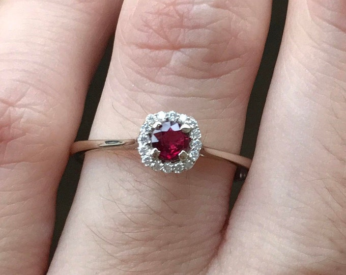 Genuine Unheat 0.21ct Ruby Engagement Ring- Dainty Ruby Promise Ring- Halo Ruby Anniversary Ring- Ruby Diamond 18k White Gold Ring