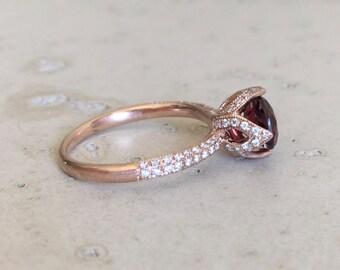 Garnet Engagement Ring Rose Gold Garnet Promise Ring Red Stone Bridal Ring Round Garnet Anniversary Ring Rose Gold Wedding Ring 7mm Garnet