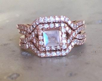 Deco Moonstone Engagement Ring Set- Princess Moonstone Engagement Rose Gold Ring- Edwardian 3 Piece Bridal Ring Set- Diamond Moonstone Ring