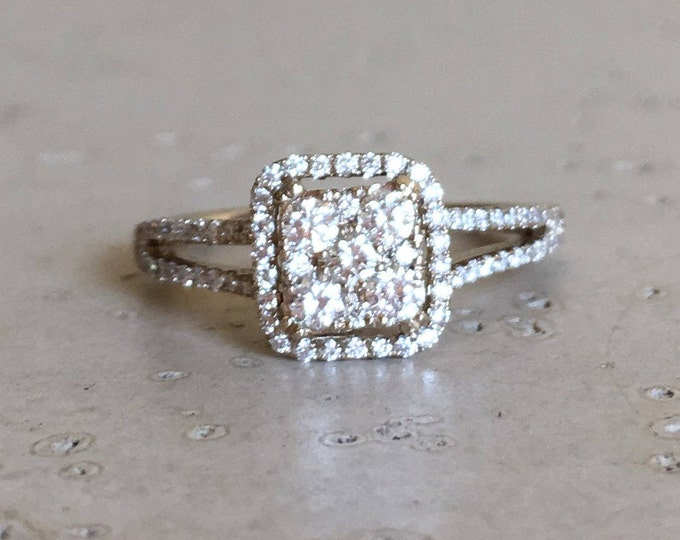 White Gold Diamond Ring- Cluster Diamond Engagement Ring- Halo Diamond Promise Ring- Square Shaped Diamond Mutlistone Ring