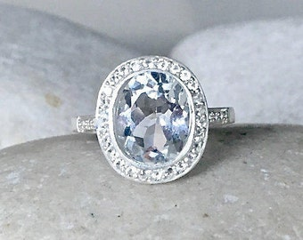 Alternative Engagement Ring- Non Diamond Engagement RIng April Birthstone Ring- Clear Gemstone Non-Traditional Engagement Ring