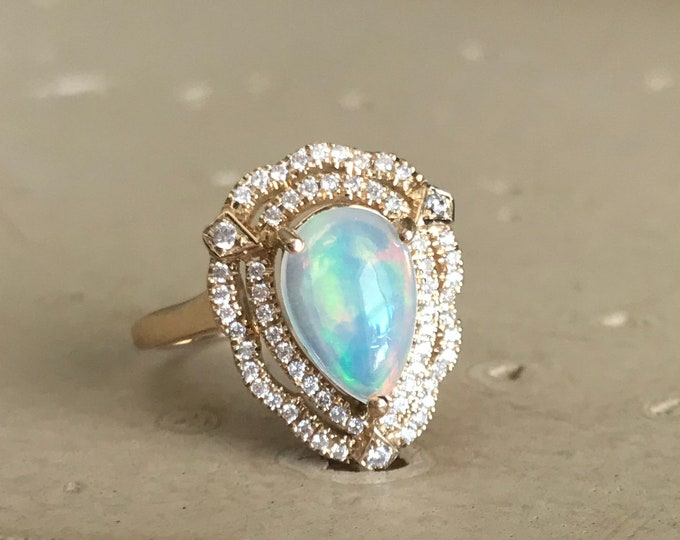 Opal Vintage Halo Engagement Ring- Welo Opal Teardrop Promise Ring- Art Deco Genuine Opal Ring- Large Opal Ring- October Birthstone Ring-
