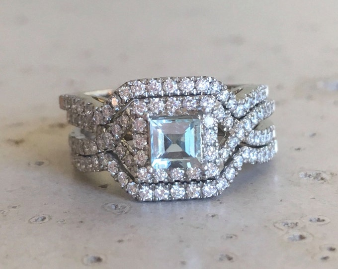 Deco Aquamarine Engagement Ring Set- Aquamarine Diamond Princess Ring Rose Gold- 3 Piece Edwardian Bridal Set Wedding Square Ring