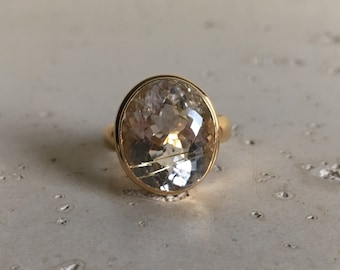 Unique Statement Ring- Oval Gold Rutile Ring- Gold Rutilated Quartz Ring- Gold Gemstone Ring- Sterling Silver Minimalist Ring