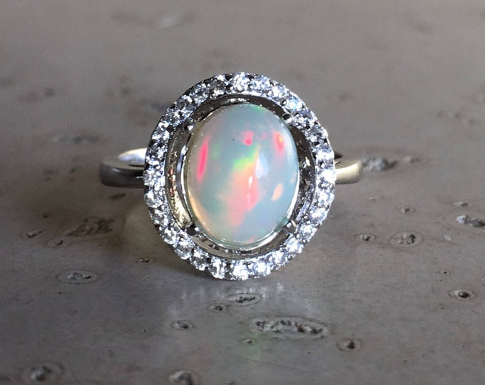 Opal Engagement Ring Oval Deco Sterling Silver Halo Opal Ring Oval Shape Promise Bridal Opal Anniversary Ring October Birthstone Ring