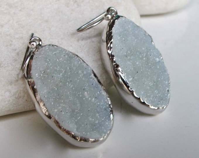 Raw Light Blue Druzy Silver Earring- Simple Oval Dangle Earring- Rough Stone Earring- Real Druzy Handmade Earring- Boho Raw Crystal Earring