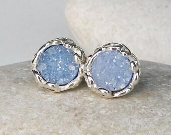 Blue Druzy Earring Stud- Sterling Silver Druzy Earring- Silver Raw Stud Earring- Raw Crystal Round Stud- Boho Rough Stone Stud Earring
