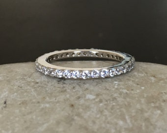 Full Eternity Silver Band- Wedding Band for Her- Cubic Zirconia Eternity Band