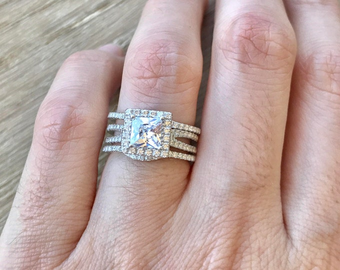 Princess Alternative Engagement Ring Set- Colorless Square Bridal Ring Set- Rose Gold 3 Piece Wedding Ring Set- Halo Clear Engagement Rings