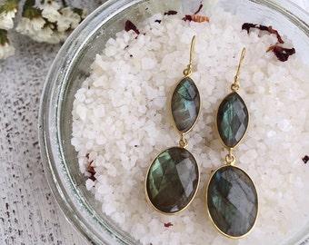 Iridescent Labradorite Statement Earring- Two Stone Drop Earring- Long Dangle Handmade Earring- Bohemian Gemstone Earring-