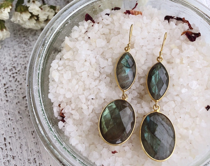 Iridescent Labradorite Statement Earring- Two Stone Drop Earring- Long Dangle Handmade Earring- Bohemian Gemstone Earring-