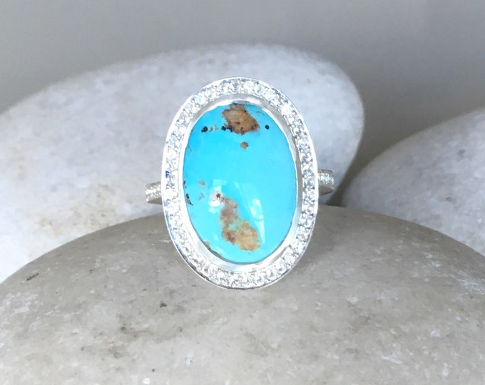 Long Oval Turquoise Ring- Halo Statement Cabochon Ring- Unique Engagement Bridal Wedding Ring- Large Gemstone Ring- December Birthstone Ring