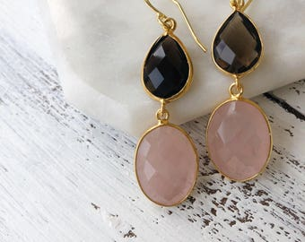 Boho Two Stone Dangle Earring- Pink and Brown Drop Earring- Boho Gemstone Jewelry- Long Dangle Double Earring- Smoky Quartz Pink Chalecony