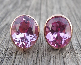 Oval Rose Gold Earring- Faceted Pink Topaz Stud- Pink Quartz Earring- Oval Pink Earring- Pink Stone Gemstone Earring- Classic Pink Earring