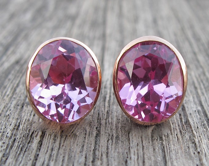 Rose Gold Stud Oval Earring- Pink Cubic Zirconia Earring- Pink Topaz Silver Earring- Pink Quartz Earring- Pink Stone Gemstone Earring