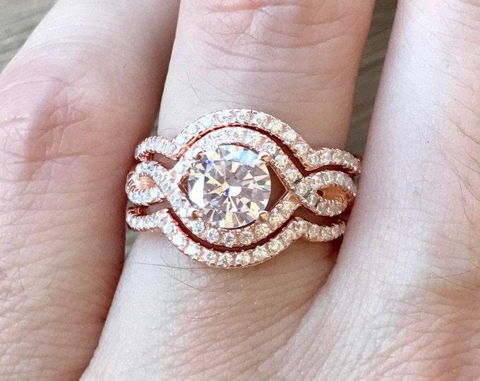 Infinity Twist Engagement Ring Set- Rose Gold Engagement Ring- Halo Round 3 Bridal Ring Set- Matching Band Engagement Ring- Rose Gold Rings