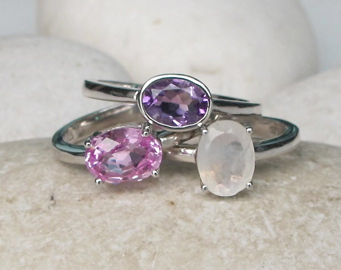 June February October Ring- Stacking Birthstone Ring- Family Gemstone Ring- Pink Topaz Moonstone Amethyst Ring- Mothers Children Ring