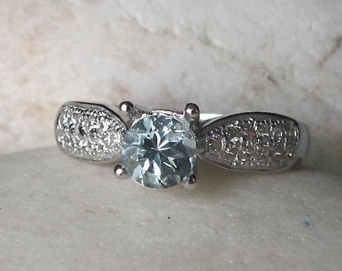 Round Aquamarine Engagement Ring- Simple Aquamarine Promise Ring- 4 Prong Anniversary Ring- March Birthstone Ring-Classic Blue Gemstone Ring