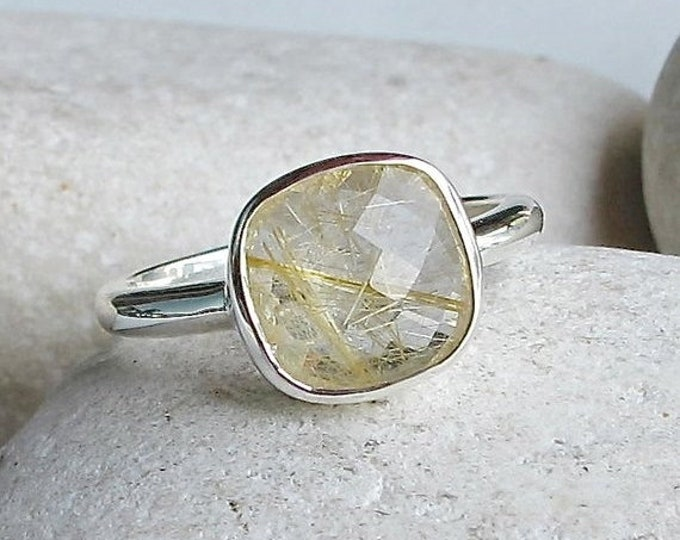 40% OFF SALE Gold Quartz Stacking Ring- Square Gold Rutile Ring- Simple Gemstone Ring- Sterling Silver Ring- Rutilated Quartz Ring