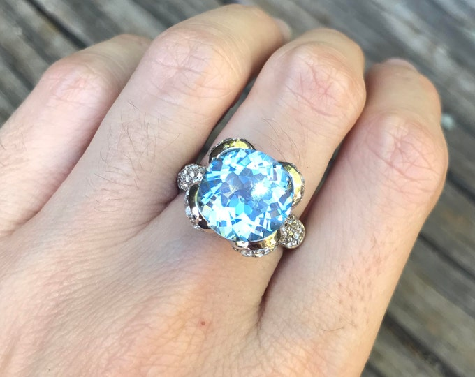 Blue Topaz Statement Ring- Unique Engagement Ring- Blue Anniversary Ring- Artisan Cocktail Ring- December Birthstone Ring- OOAK Promise Ring