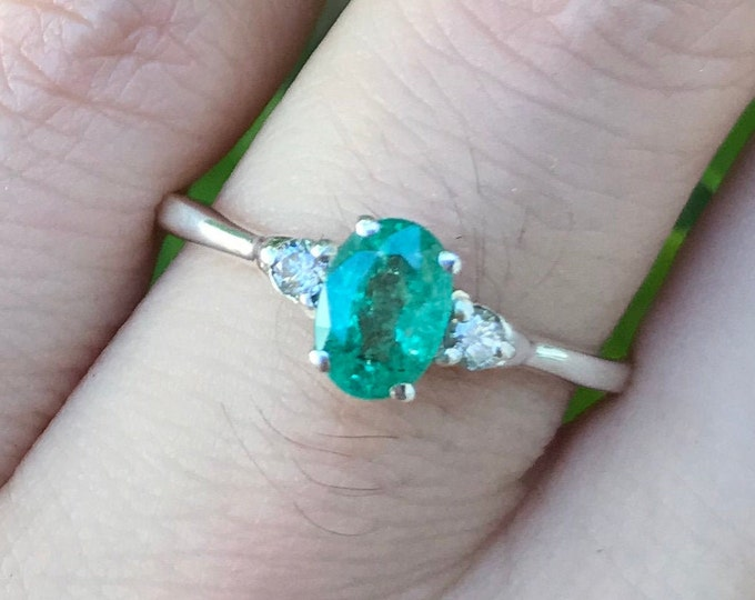 Oval Emerald Engagement Ring- Three Stone Emerald Diamond Promise Ring- Dainty Genuine Natural Emerald Anniversary Ring- May Birthstone Ring