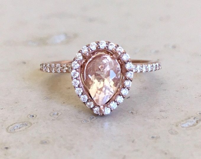 Tear Drop Morganite Engagement Ring- Rose Gold Morganite Ring- Pear Halo Promise Ring- Diamond Morganite Anniversary Ring- Rose Gold Ring