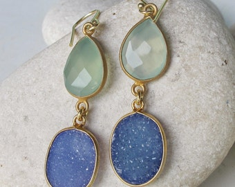 Long Gold Druzy Dangle Earring Drop 2 Stone Handmade Double Earring Blue Green Real Druzy Earring Boho Bohemian Jewelry