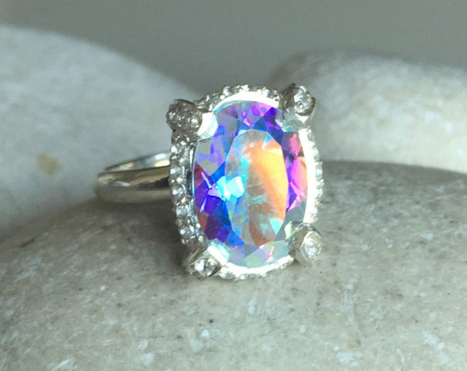 Mystic Topaz Engagement Ring- Bohemian Rainbow Statement Ring- Unique Gemstone Mood Ring- Sterling Silver Gypsy Ring- Large Oval Ring