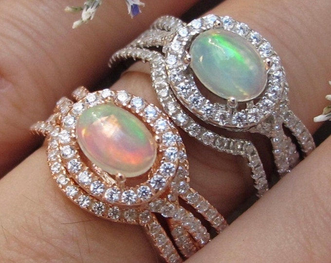 Oval Genuine Opal Bridal 3 Ring Set-Cabochon Welo Opal Women Engagement Rings- Split Twist Shank Fiery Opal Prong Ring-Rose Gold Silver Ring