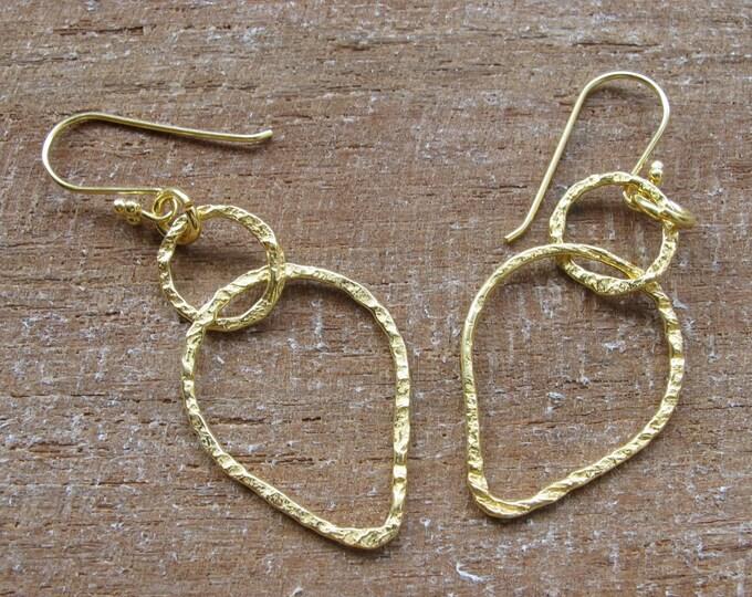 Gold Hoop Dangle Earring- Boho Hammered Hoop Earring- Sterling Silver Geometric Earring- Simple Everyday Minimalist Earring-Bohemian Earring