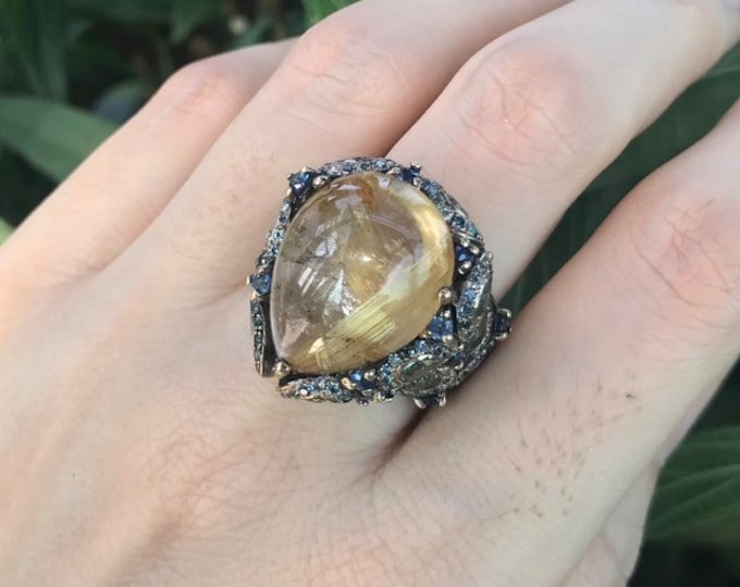 16.70ct Rutilated Quartz Avant Garde Statement Cluster Ring- Gold Rutile OOAK TearDrop Cabochon MultiStone Ring-PearShape Large Stone Ring
