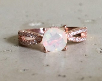 Bohemian Opal Ring- Rose Gold Opal Ring- Opal Engagement Ring- October Birthstone Ring- Round Opal Promise Ring- Natural Opal Solitaire Ring