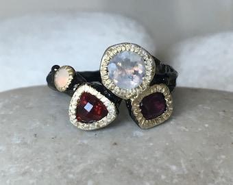 Moonstone Tourmaline Garnet Opal Ring- Tree Branch Statement Ring- MultiStone Birthstone Black Ring- Unique Gemstone Solitaire Ring
