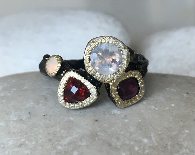 Cluster Moonstone Tourmaline Garnet Opal Ring- Rustic Organic Stone Statement Ring- MultiStone Birthstone Black Ring- Unique Solitaire Ring