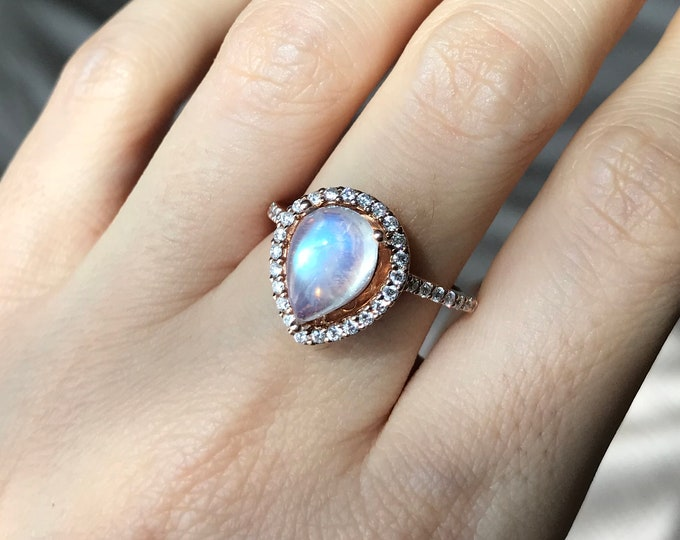 Pear Halo Moonstone Engagement Ring Large 14k Rose White Yellow Gold Anniversary Promise Blue Flash Gemstone Large Solitaire Moonstone Ring